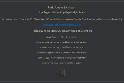 Join us for our virtual Pupillage and Mini-pupillage Insight day on the 8th of December 2020 image